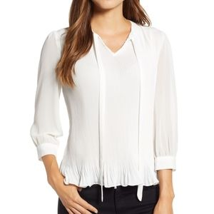 Everleigh White Tie Neck Pleated Top